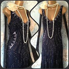 New principles Blue bead 20s deco gatsby flapper evening wedding dress 12