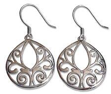925 Sterling Silver Filigree Drop/dangle Tree Of Life Design Earrings Jewellery