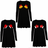 WOMENS LADIES GIRLS LONG SLEEVE SANTA CHRISTMAS SWING DRESS XMAS SKATER DRESS