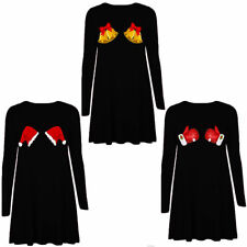 WOMENS LADIES GIRLS LONG SLEEVE SANTA CHRISTMAS SWING DRESS XMAS SKATER DRESS