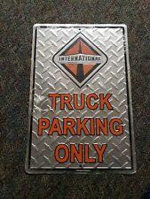 international truck parking metal sign advertising diamond plate