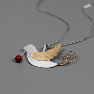 Elegant Solid 925 Silver Jewelry Artificial Coral Fruit Bird Pendant for Women
