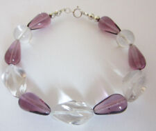 Bohemian Crystal Bracelet Purple Clear 7.5 Inches Sterling Silver Fashion Jewels