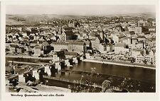 Würzburg view with old bridge building with War Damage Postcard 1953