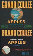 "ORIGINAL OLD PAIR 1935-39 GREAT DAM ""GRAND COULEE BRAND"" COULEE WASH LABEL ART"