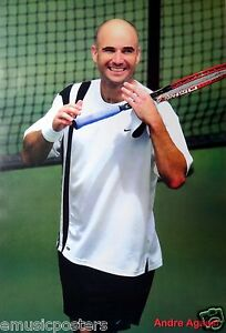 """ANDRE AGASSI """"SMILING ON TENNIS COURT"""" POSTER - Grand Slam Tennis Champion"""