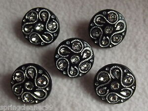 5 x BLACK DIAMANTE EFFECT ROUND BUTTONS ~ 34L (approx 20mm)