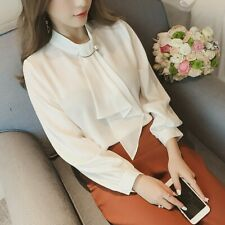 Women Office Ladies Long Sleeve Tops Blouse Formal Shirt With Fake Necktie CA