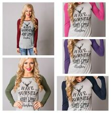 Women Long Sleeve Crew Neck Christmas Printed T-Shirts Slim Tops Party Plus Size