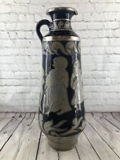 "Rare Italian/Greek Cobalt Blue Terra-Cotta & Silver Clad 26"" Floor Vase Signed"