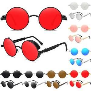 Unisex Polarisierte Licht Cool Retro Steampunk Metall Sonnenbrille Runde Brillen