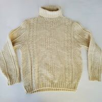 Vintage 60's Arrow Cum Laude Large Wool Blend Cream Turtleneck Sweater Heavy