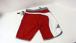 New Genuine SeaDoo Womens Lilypad Board Shorts Size 26 Red Grey White Quick-Dry