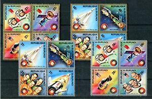 BURUNDI 1975 Space Apollo - Soyuz 4 block of 4 complete set MNH (1871)