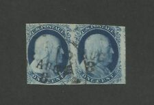 1851 United States Postage Stamp #8A Used Postal Cancel Pair Certified