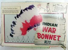 VINTAGE 1950s TANDY LEATHER COMPANY INDIAN WAR BONNET KIT IN ORIGINAL BOX