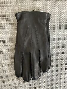 Mens Fownes Leather Gloves Black Wool/Nylon/Cashmere Blend Lining NWT Size L