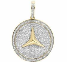 "1 CT 1.5"" Men's 10K Yellow Gold Over Mercedes Medallion Diamonds Pendant Charm"
