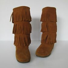 Minnetonka Moccasins Womens Brown Suede Leather 3-Tiered Fringe Mocs Boots  9