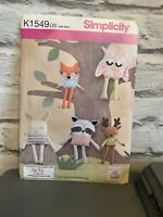 Simplicity K1549 Fox Owl Rabbit Badger Deer Toy Sewing Pattern One Size Uncut