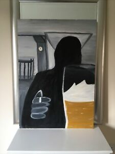 The Pub, Painting In Oil In Canvas