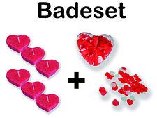 Badekonfetti Herz mit Schwimmkerzen für die Badewanne z.B. Valentinstag Badeset
