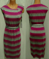 CALVIN KLEIN GRAY/ PINK STRIPE BELT SLEEVELESS DRESS SIZE 4 NEW WITH TAG