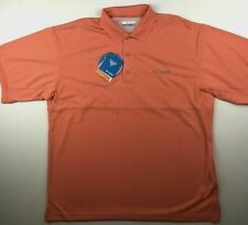 d167fd5b304 Columbia PFG Mens Medium Perfect Cast Peach Omni Shade Fishing Polo Shirt