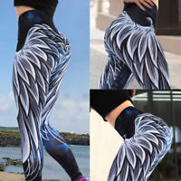 Women Plumage Print Yoga Pants Running Leggings Sports Stretch Workout Trousers