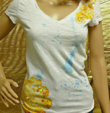 Aeropostale Jr Girls Size M White Short Sleeve T-Shirt Sequin Graphic V Neck Top