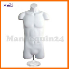 White Mannequin Male Torso w/ Table Top Stand + Hanger - Plastic Dress Form