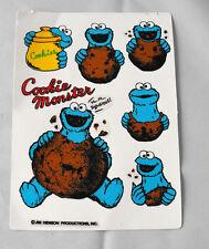 RARE SESAME STREET Cookie Monster set of 6 stickers MINT1993 Netherlands