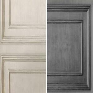 Fresco Wood Panelling Effect Wallpaper Neutral Grey Modern Contemporary
