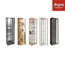 HOME Double Glass Door Display Cabinet Beech Black Oak Silver Wenge