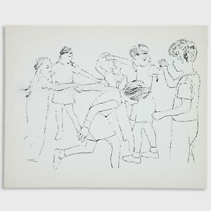 Andy Warhol Rare 1954 Original Children Playing Ring Around the Rosie Lithograph
