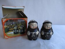 Vintage Salt and Pepper Shakers Monks in Original Box Hard Plastic Hong Kong