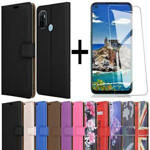 For Oppo A53 Phone Case Leather Wallet Flip Stand Cover + Screen Tempered Glass