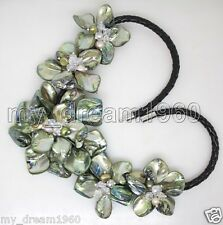 Hand Woven Green Shell & Pearl Crystal 5 Flowers Black Leather Bib Necklace