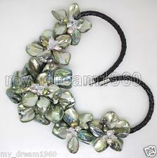 5 Flowers Black Leather Bib Necklace Hand Woven Green Shell & Pearl Crystal