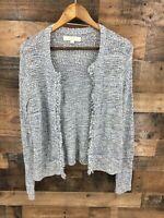 Ann Taylor Loft Women's Blue & White Open Front Fringe Cardigan Sweater Size L