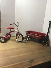 Radio Flyer Wagon & Tricycle for Dolls/bears Pressed Metal Working Wheels