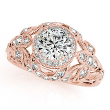14K Rose Gold Solitaire Ring Round Cut 0.90 Ct Real Diamond Engagement Rings