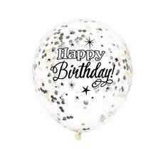 "Happy Birthday  Clear Confetti Balloon Bunch Black 6 Pack 12"" confetti"