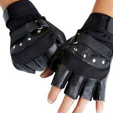 All Black Soft Warm Sheep Leather Driving Motorcycle .Biker Fingerless Glove#