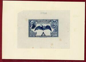 Ecuador 1938 #C60, Die Proof on Card, 150th Anniv of US Constitution, Flag,Bird