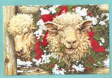 Wooly Sheep Lamb Merinos Wreath Embossed Christmas Cards Box of 16