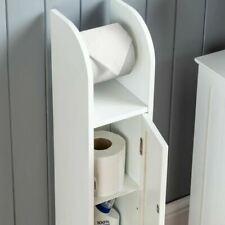 WHITE WOOD FREE STANDING TOILET PAPER ROLL HOLDER BATHROOM STORAGE CABINET NEW