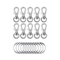 20 Pcs Metal Swivel Lanyard Snap Hook with Key Rings (Small Size) for Key Chains