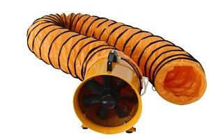"""8"""" 200MM CYCLONE DUST FUME EXTRACTOR / VENTILATION FAN + 5M PVC DUCTING"""