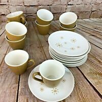 Vtg espresso tea cups saucers atomic white olive mid century Modern 10 sets